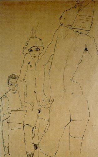 Egon Schiele. Schiele con modelo desnuda ante el espejo, 1910. Albertina, Viena