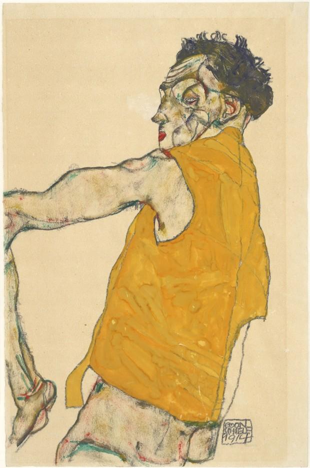 Egon Schiele. Autorretrato con chaleco amarillo, 1914. Albertina, Viena