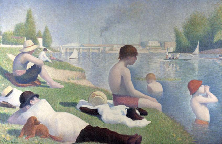Seurat. Bañistas en Asnières, 1883-1884. National Gallery, Londres