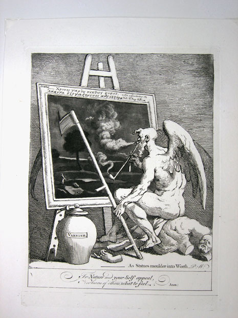 William Hogarth. El tiempo ahumando una pintura, 1761