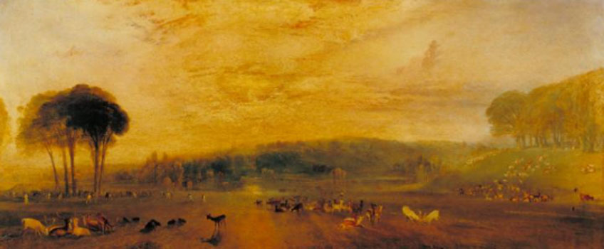 Turner. The Lake, Petworth: Sunset, Fighting Bucks, hacia 1829. Tate