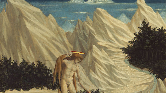 Domenico Veneziano. San Juan Baustista en el desierto. Retablo de Santa Lucía, 1445-1447