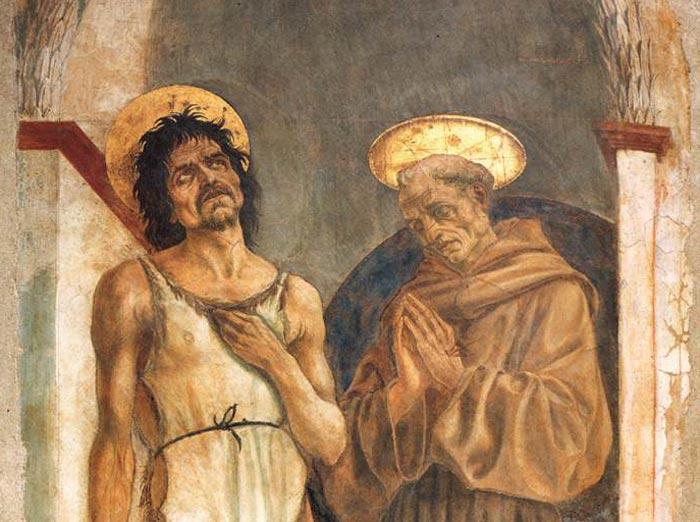 Domenico Veneziano. Frescos de san Juan Bautista y san Francisco en la Iglesia de Santa Croce, hacia 1454