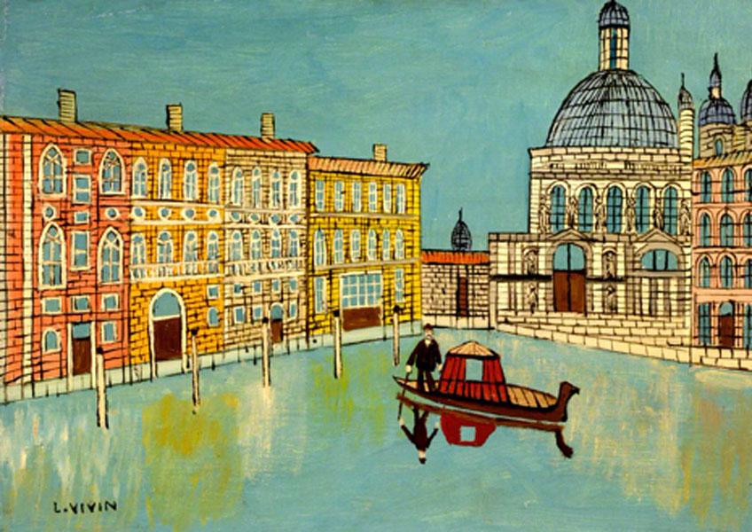 Louis Vivin. Venecia: Vista de Canal con iglesia. Southampton City Art Gallery