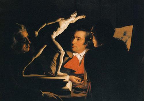 Wright of Derby. Tres personas contemplando un gladiador a la luz de las velas, 1765. Colección privada