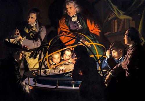 Wright of Derby. Un filósofo da una lección sobre el planetario de mesa, 1786. Derby Museum and Art Gallery