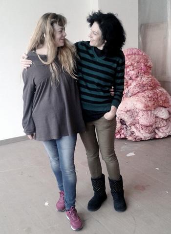 Con Marina Vargas en su estudio. Madrid, octubre de 2015. Foto: Zdenek Tusek