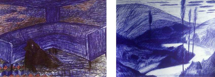 Dibujos pertenecientes a las series Paura y By the river