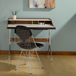 Nelson Swag Leg Desk and Tables, Eames Wire Chairs