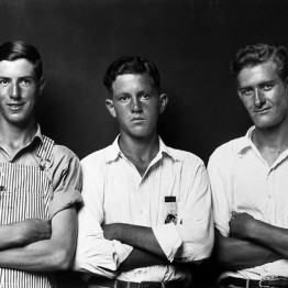 Mike Disfarmer. Undata-captiond, (Three young men arms crossed one in overalls two in white collered shirts), 1939-46