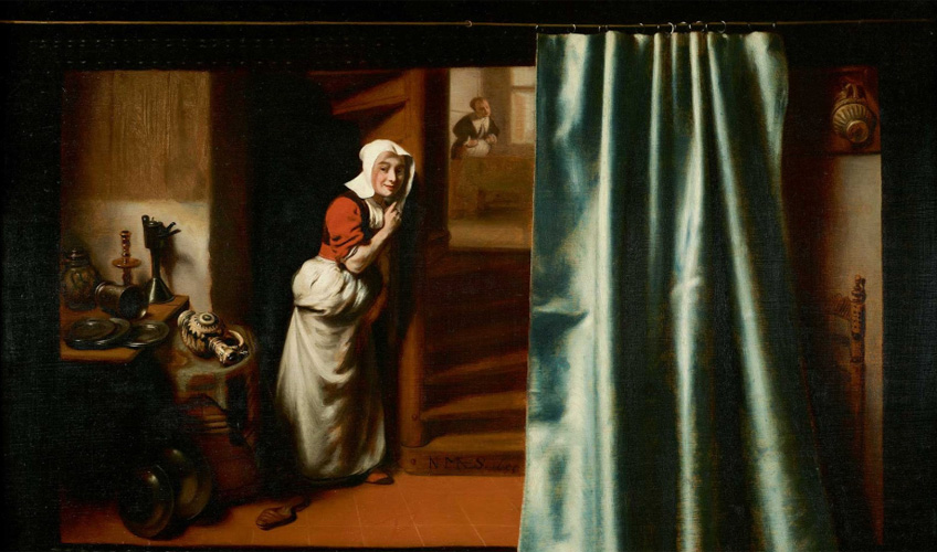 Nicolaes Maes. The Eavesdropper, 1655. Harold Samuel Collection, Mansion House © Guildhall Art Gallery, City of London