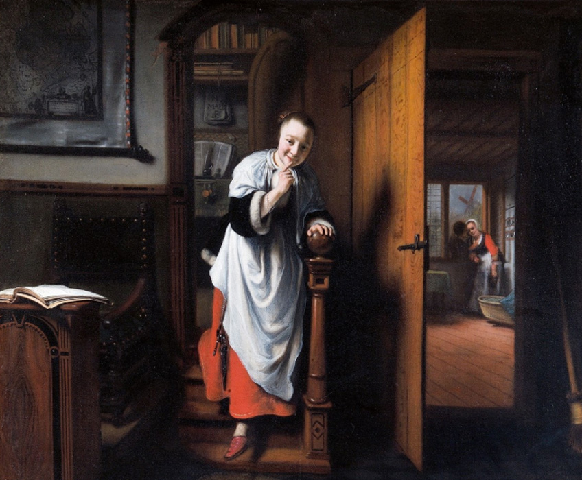 Nicolaes Maes. The Eavesdropper, hacia 1656. The Wellington Collection, Apsley House. © Historic England Photo Library